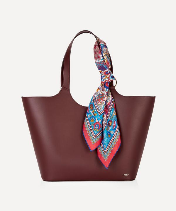 5e23eba6cf Audrey Leather Tote Bag with Peacock Garden Silk Scarf ...