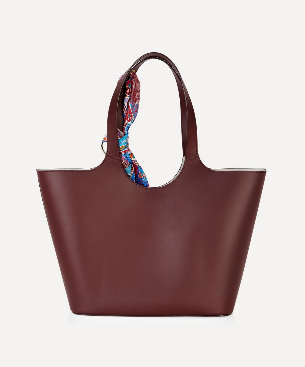 Audrey Leather Tote Bag with Peacock Garden Silk Scarf