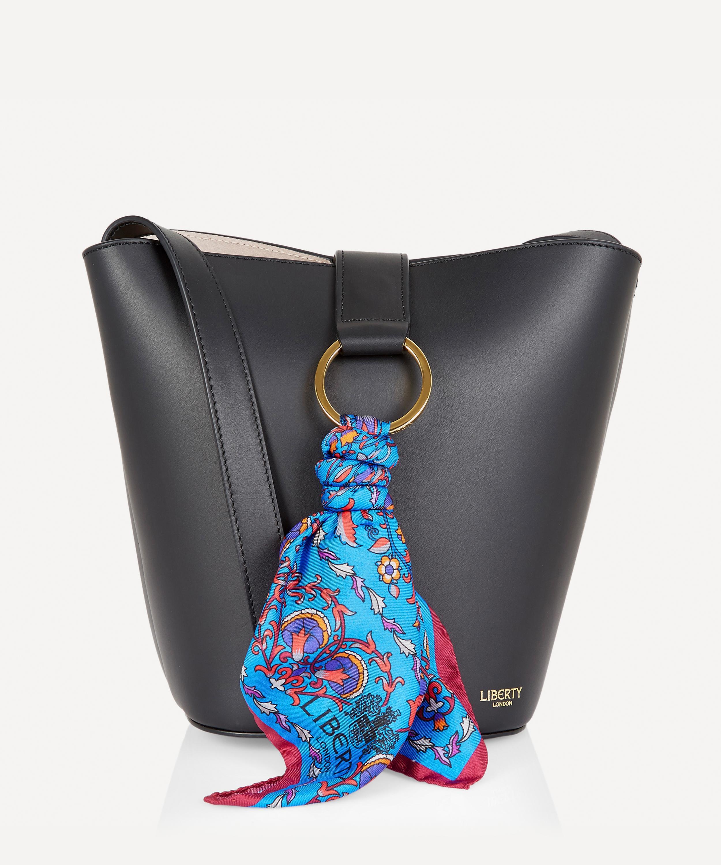 Brigitte Leather Mini Bucket Bag with Lodden Silk Scarf