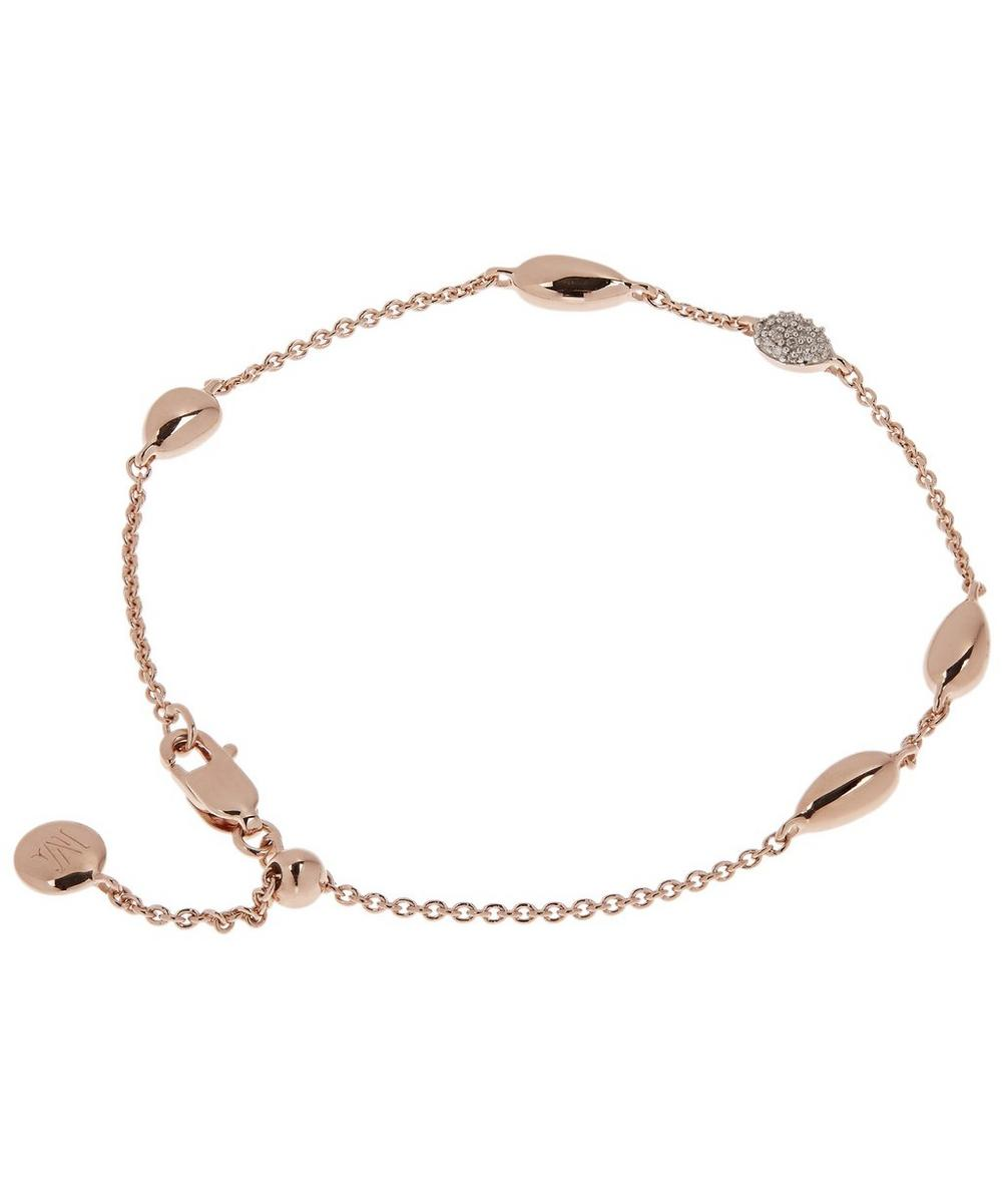 Rose Gold Vermeil Nura Teardrop Mixed Station Diamond Bracelet