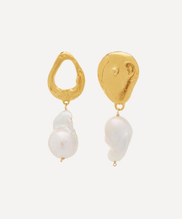 Alighieri - Gold-Plated Infernal Storm Pearl Drop Earrings
