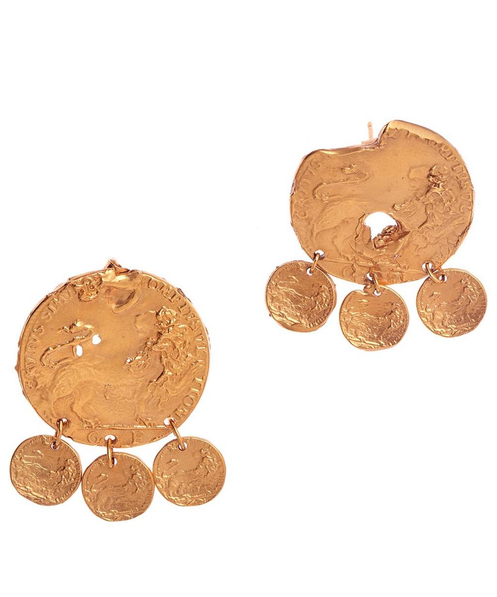 Gold-Plated Baby Lion Drop Earrings