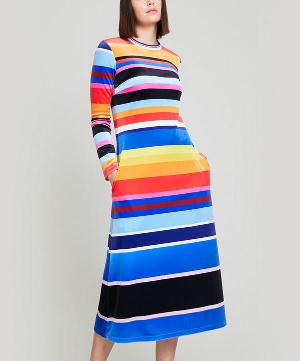 Guilder Striped Velvet Dress