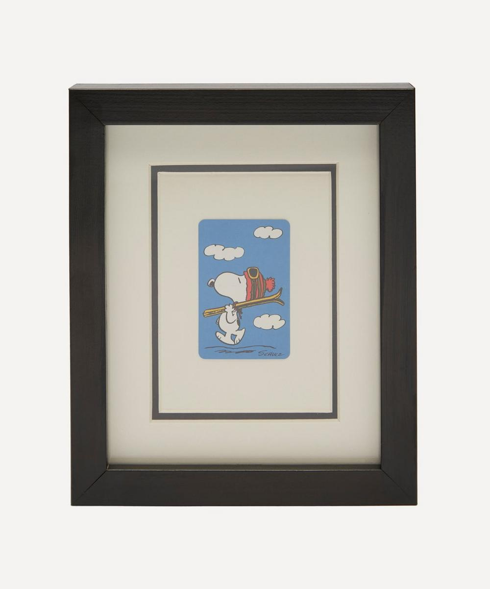 Snoopy Skiing Vintage Framed Playing Card