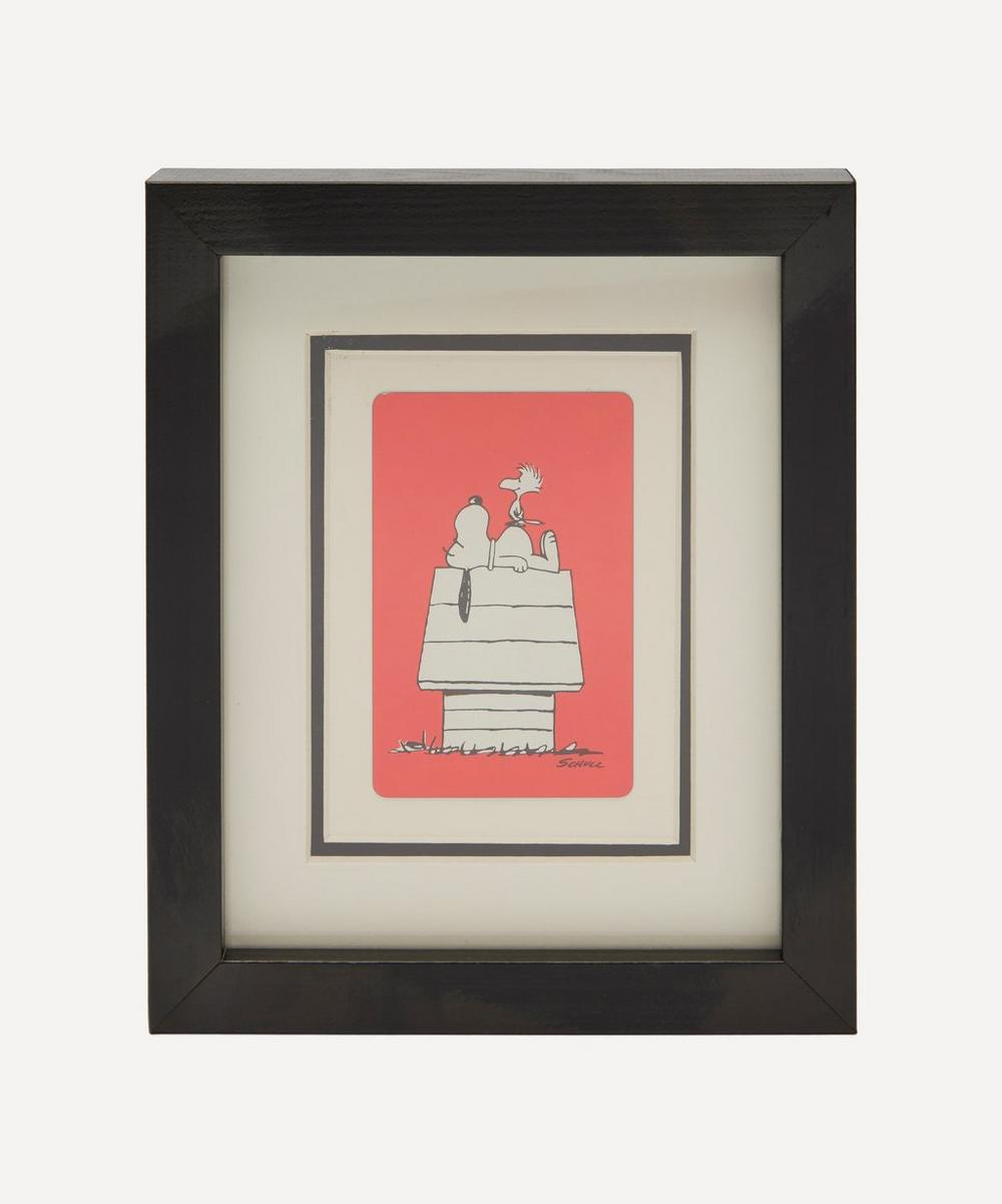 Vintage Playing Cards Snoopy And Woodhouse Vintage Framed Playing Card In Red