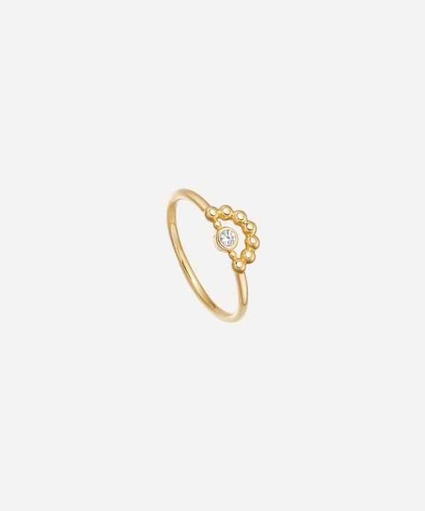 Gold Vermeil Stilla Arc White Sapphire Mini Beaded Ring