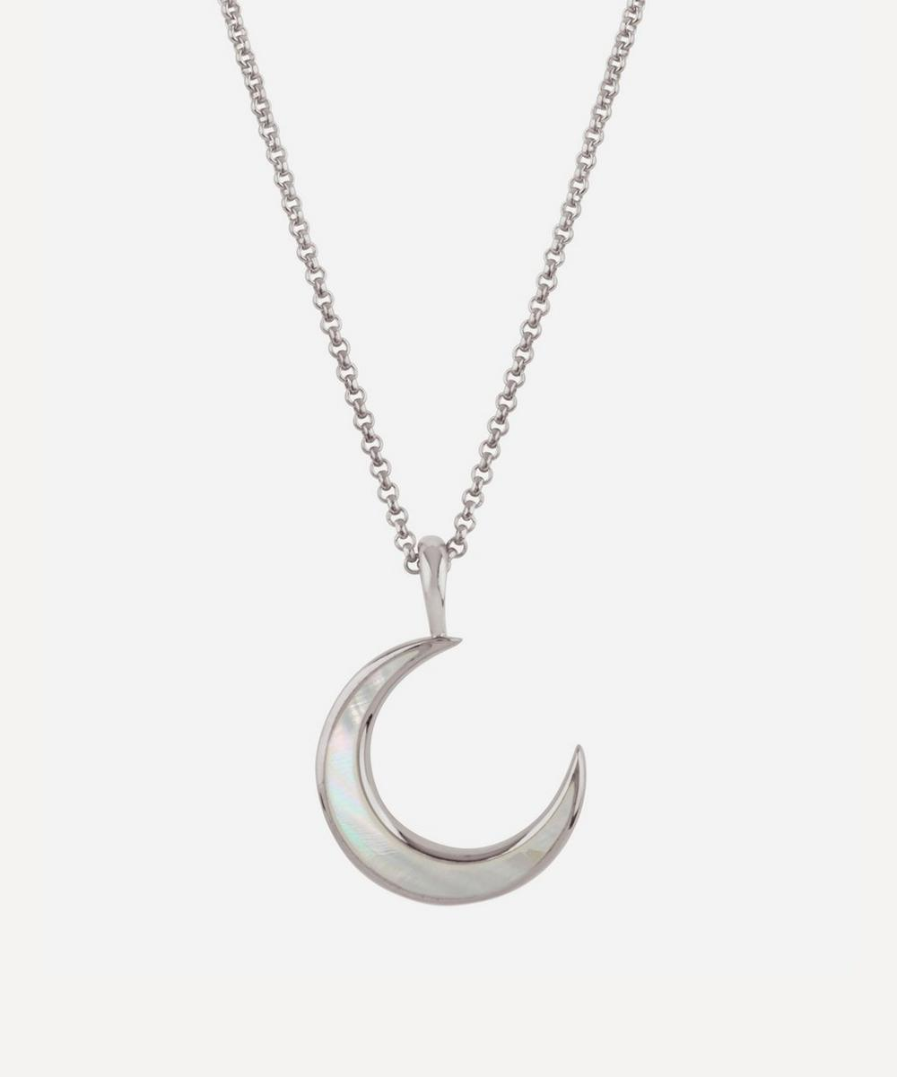 Silver Mother of Pearl Moon Pendant Necklace