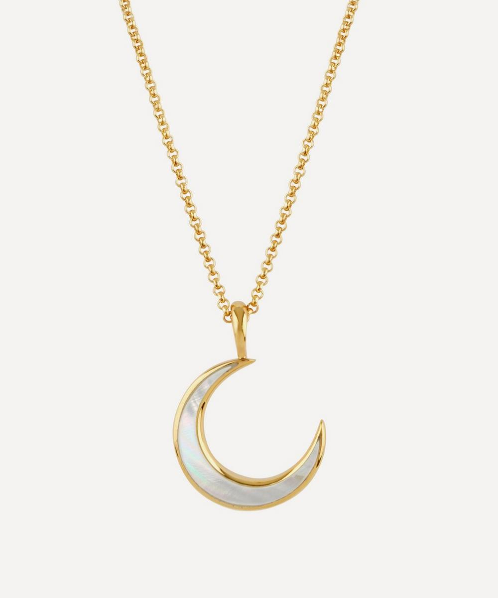 Gold Vermeil Mother of Pearl Moon Pendant Necklace