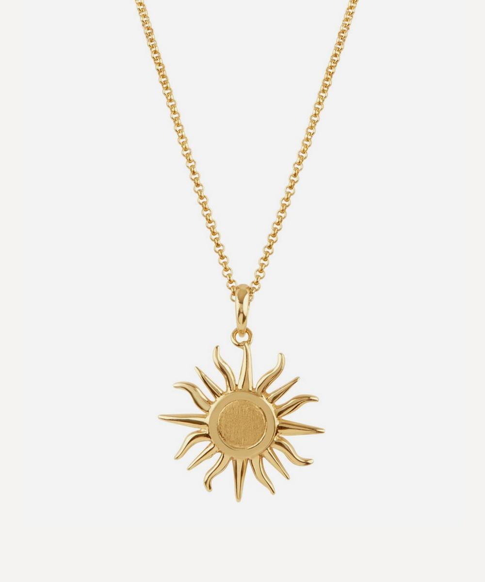 Gold Vermeil Sun Charm Pendant Necklace