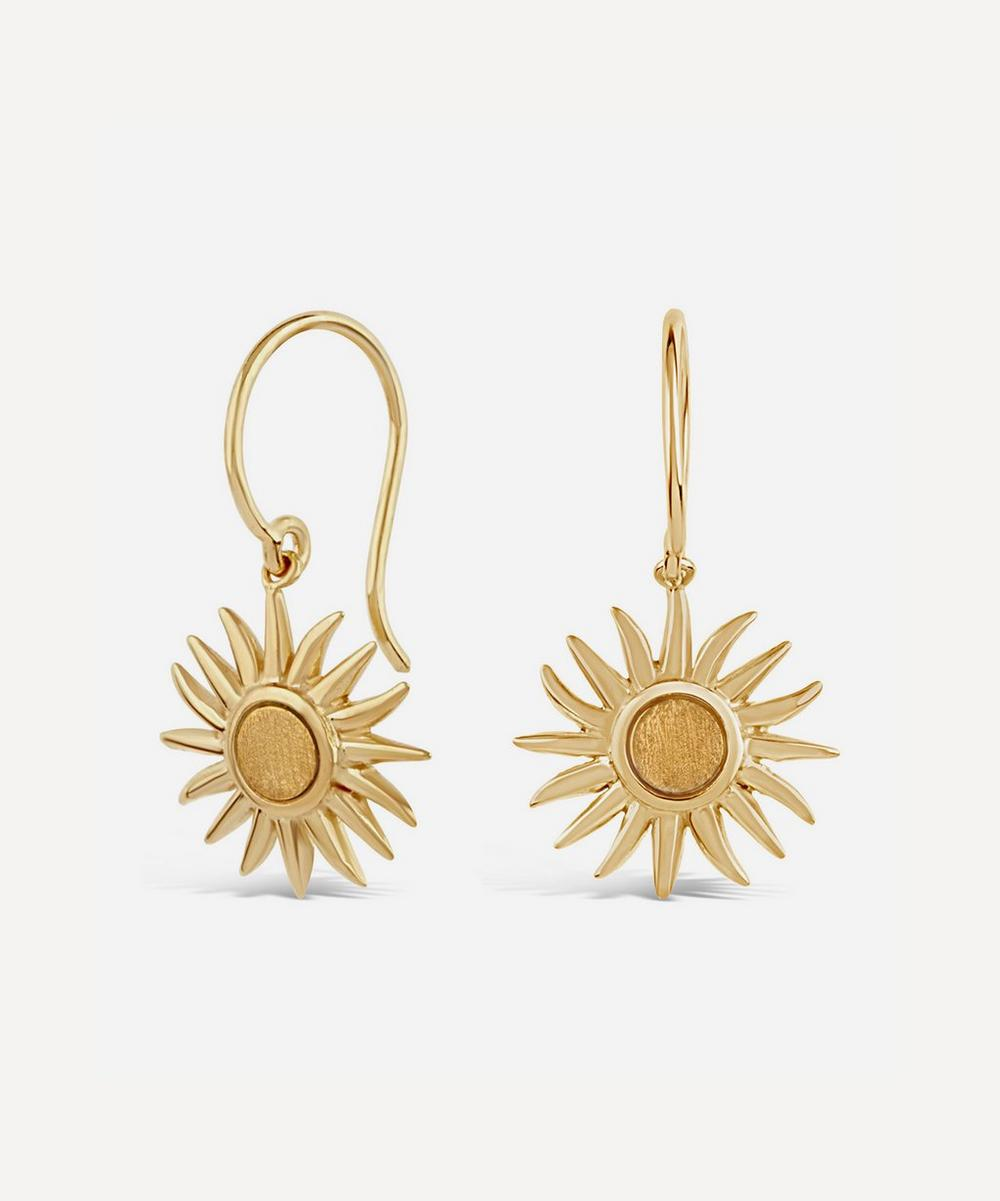 Gold Vermeil Sun Charm Drop Earrings