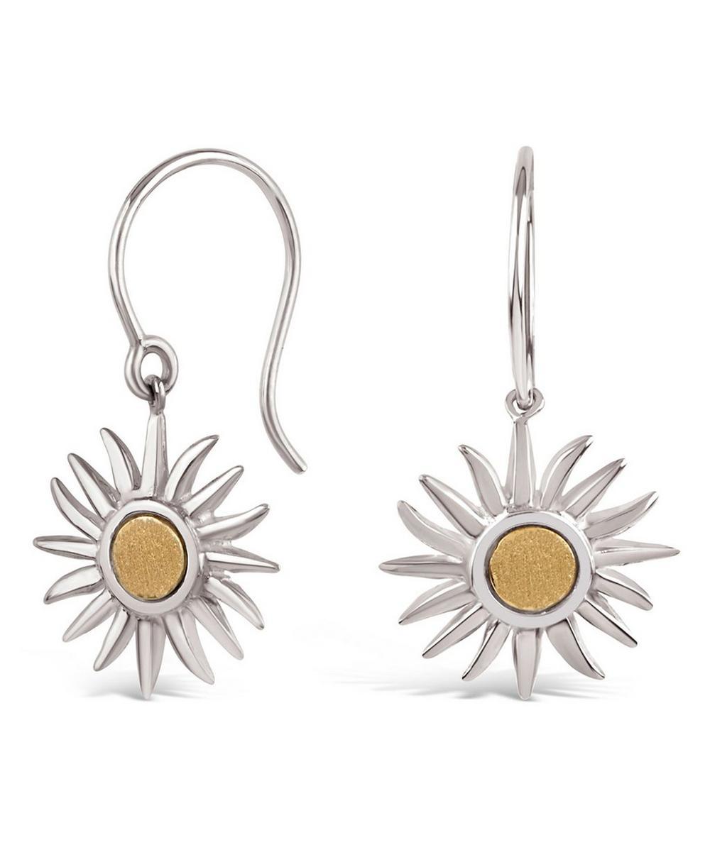Silver Sun Charm Drop Earrings