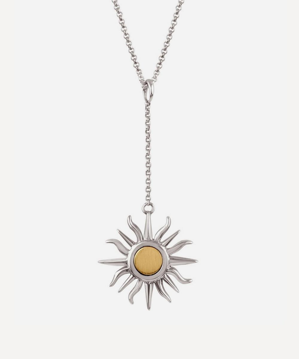 Silver Sun Charm Pendant Chain Necklace
