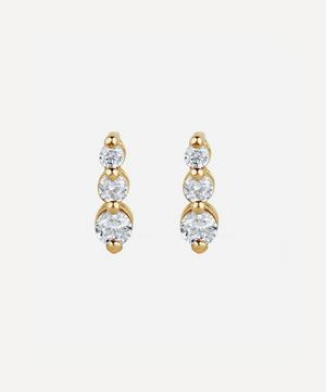 Gold Shuga Tapering Triple Diamond Stud Earrings