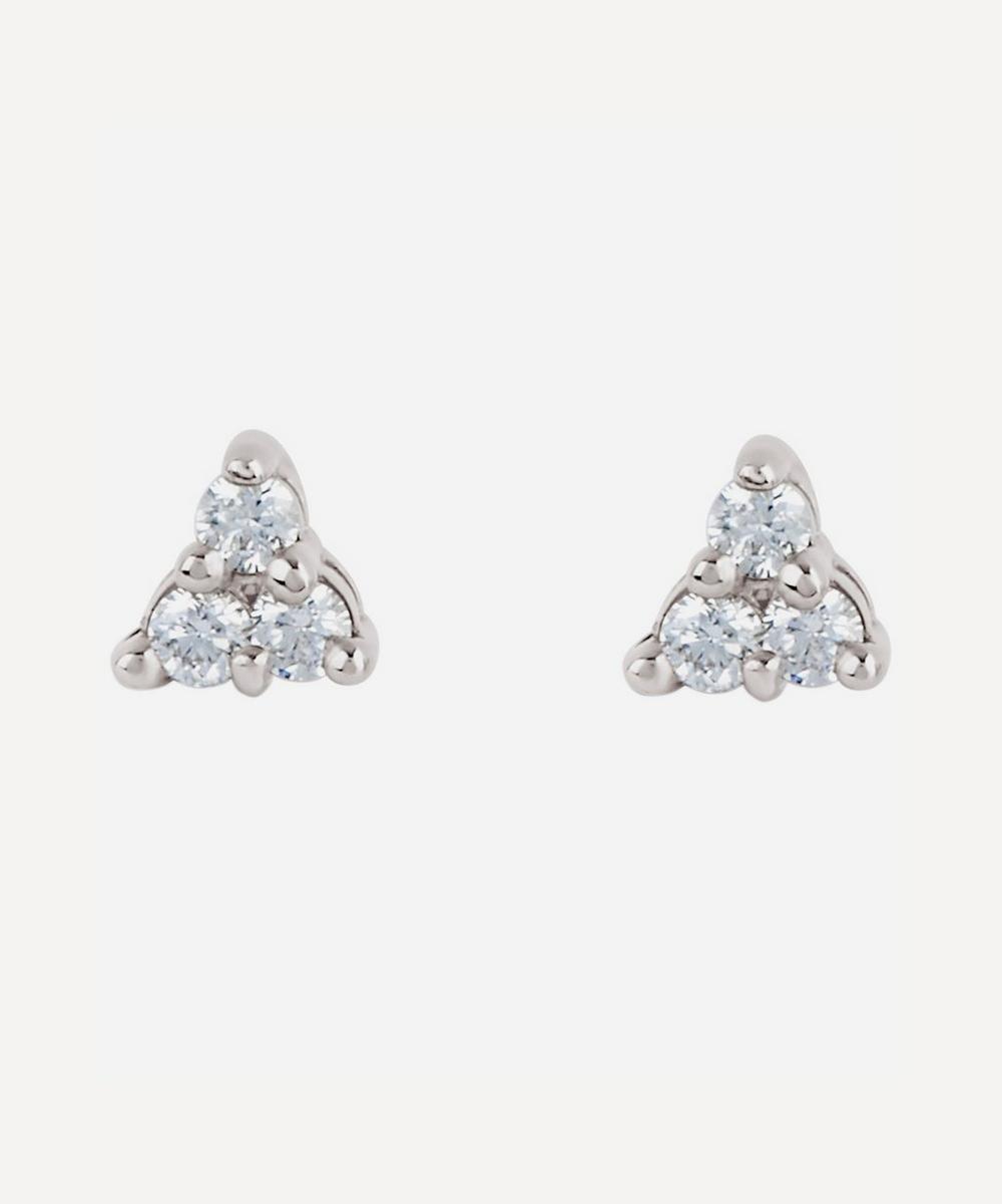 White Gold Shuga Mini Trillion Diamond Stud Earrings