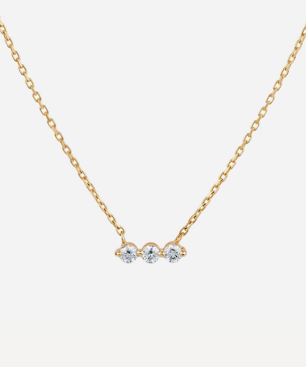 Gold Shuga Three Stone Diamond Bar Necklace