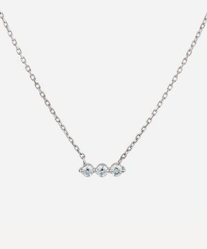 White Gold Shuga Three Stone Diamond Bar Necklace