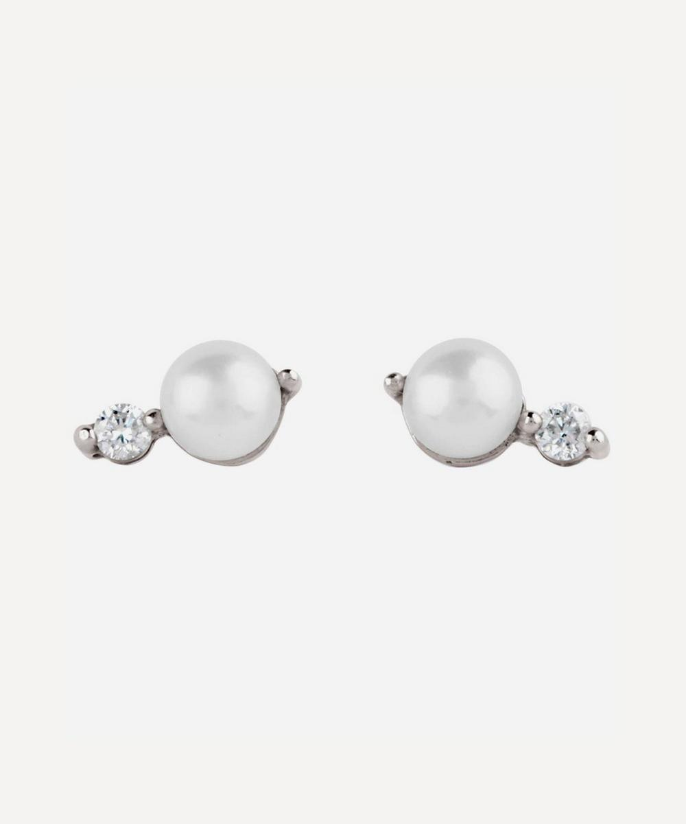 White Gold Shuga Double Pearl Diamond Stud Earrings