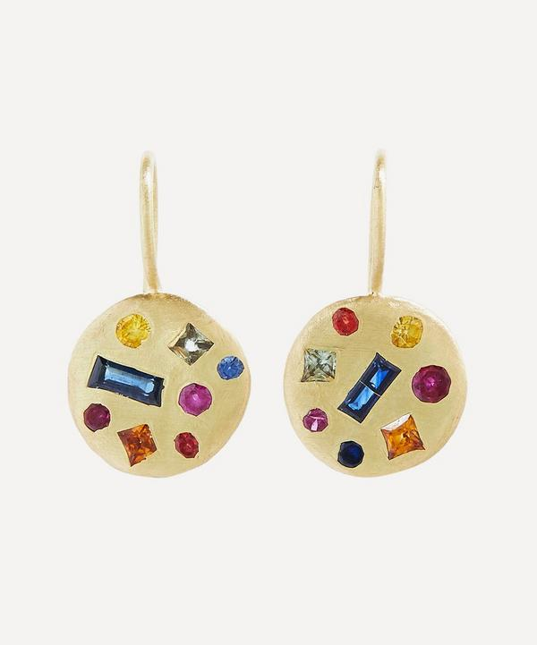 Gold Celeste Harlequin Sapphire Disc Drop Earrings