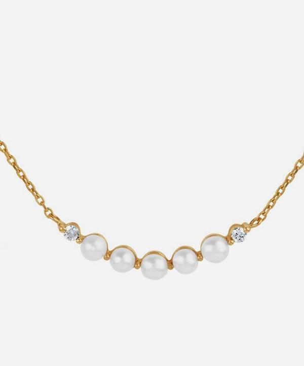 Dinny Hall - 14ct Gold Shuga Pearl and Diamond Bar Pendant Necklace