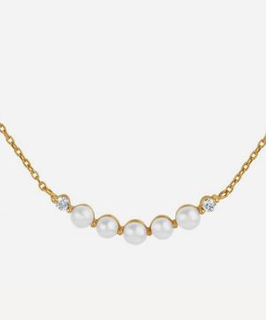 Gold Shuga Pearl and Diamond Bar Pendant Necklace