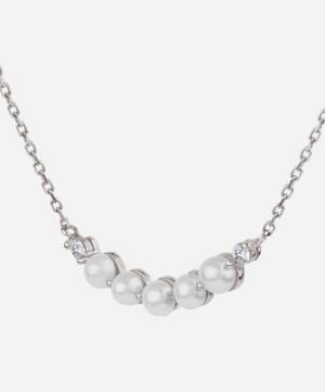 White Gold Shuga Pearl and Diamond Bar Pendant Necklace