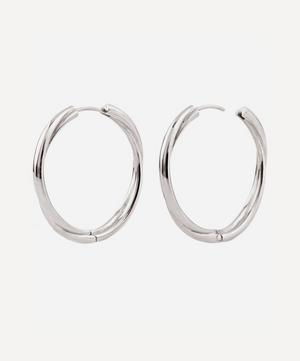 Silver Twist Click Hoop Earrings