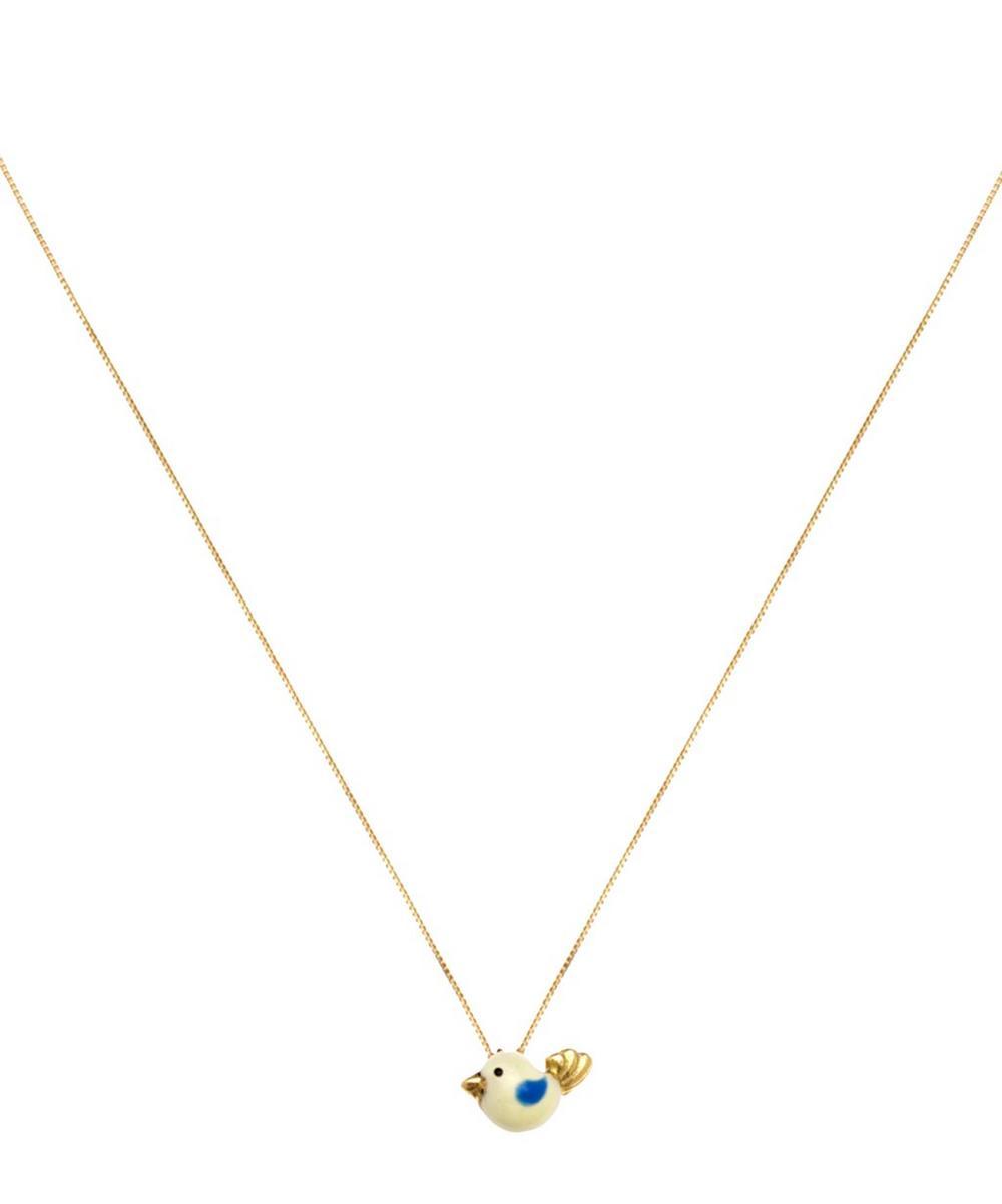 Gold Canarino Enamel Bird Charm