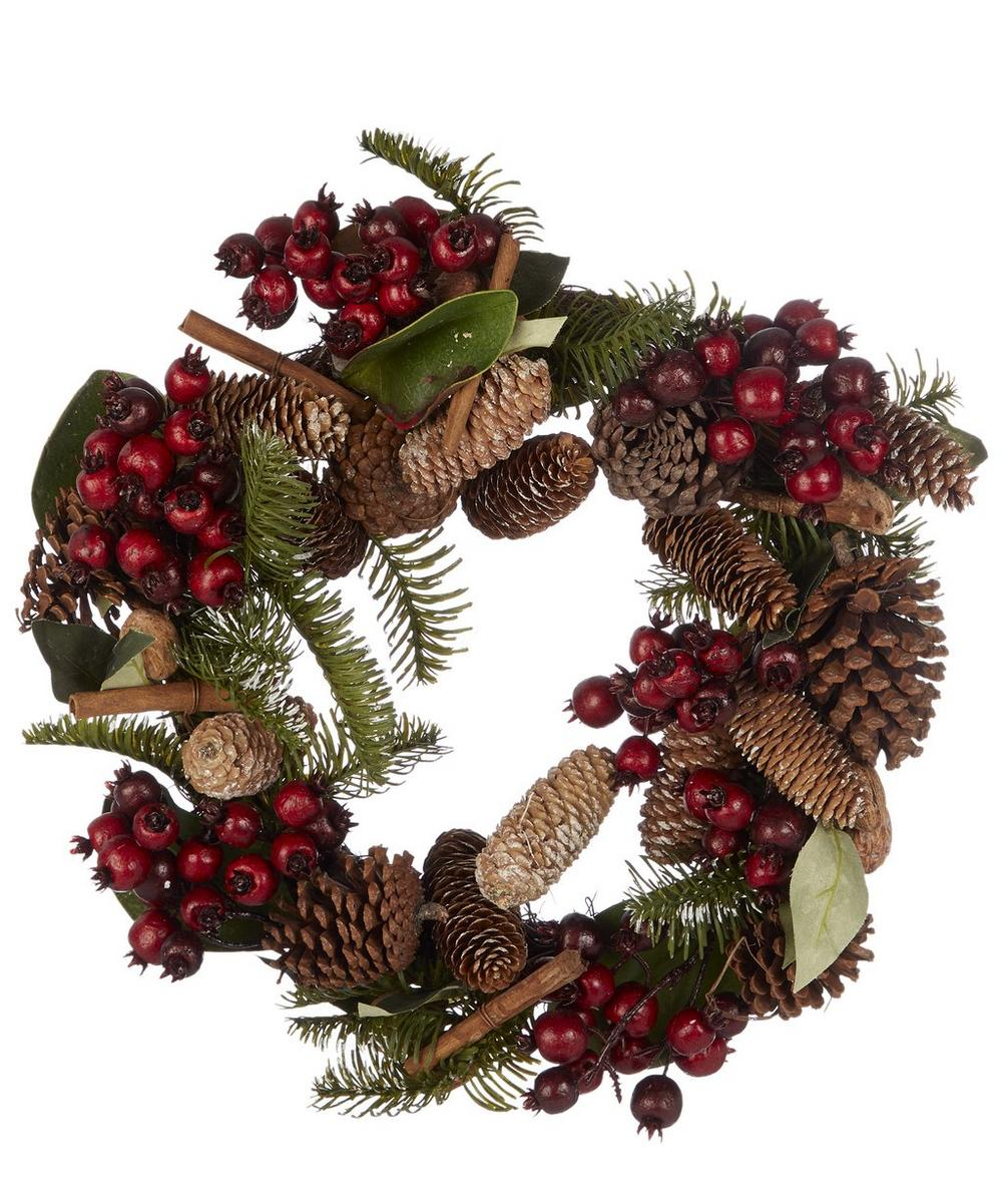 Fir Leaf Wreath with Red Berries