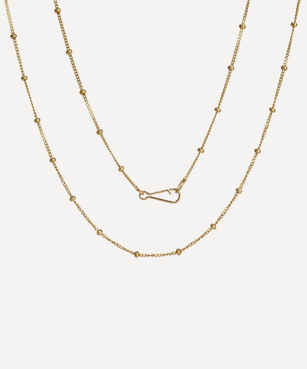18ct Gold Saturn Long Chain Necklace