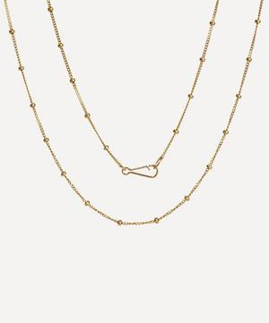 14ct Gold Saturn Long Chain Necklace