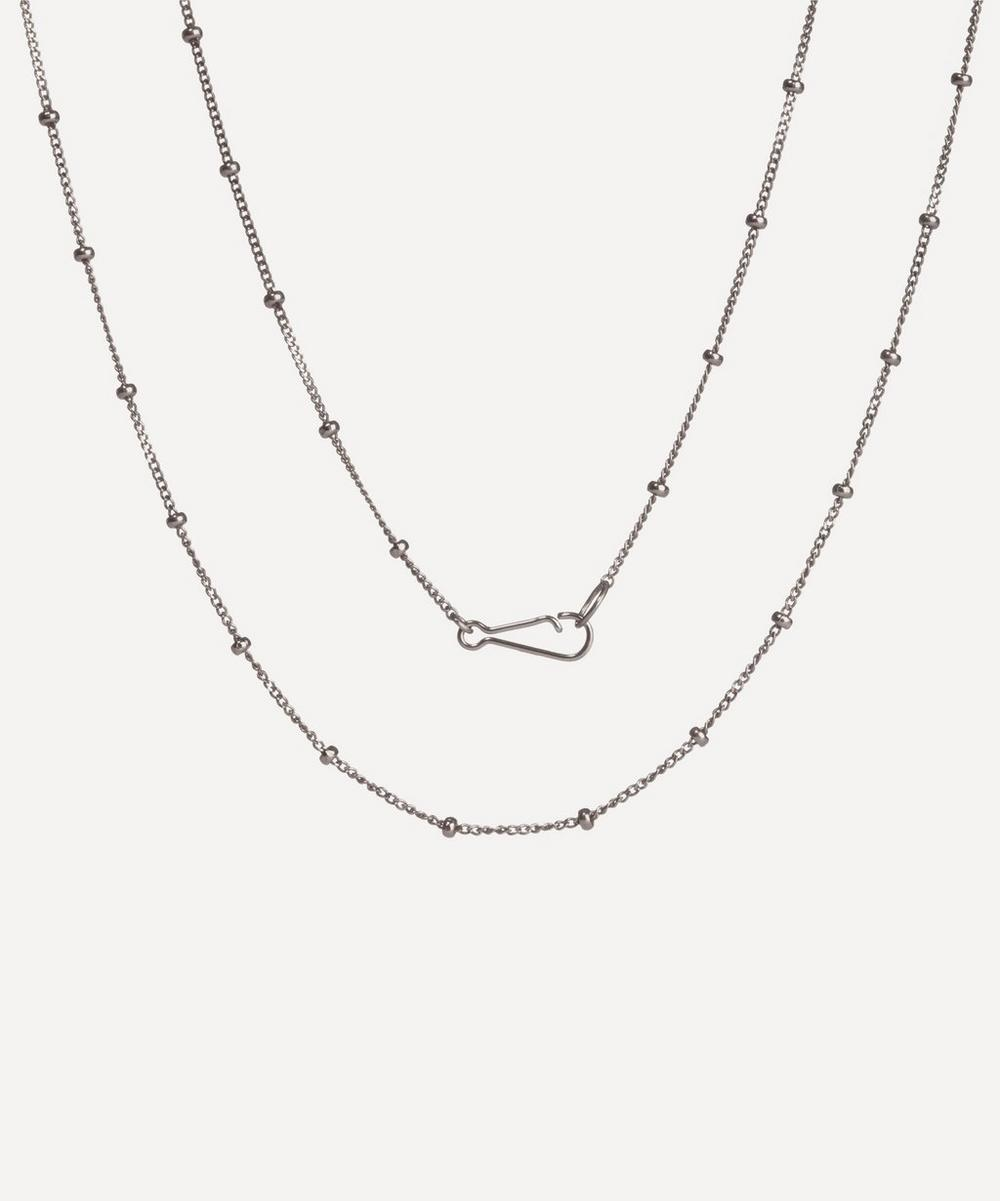18ct White Gold Saturn Long Chain Necklace