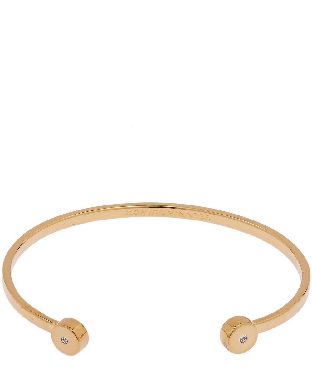 Monica Vinader Lingerie GOLD VERMEIL LINEAR SOLO LARGE DIAMOND CUFF BRACELET