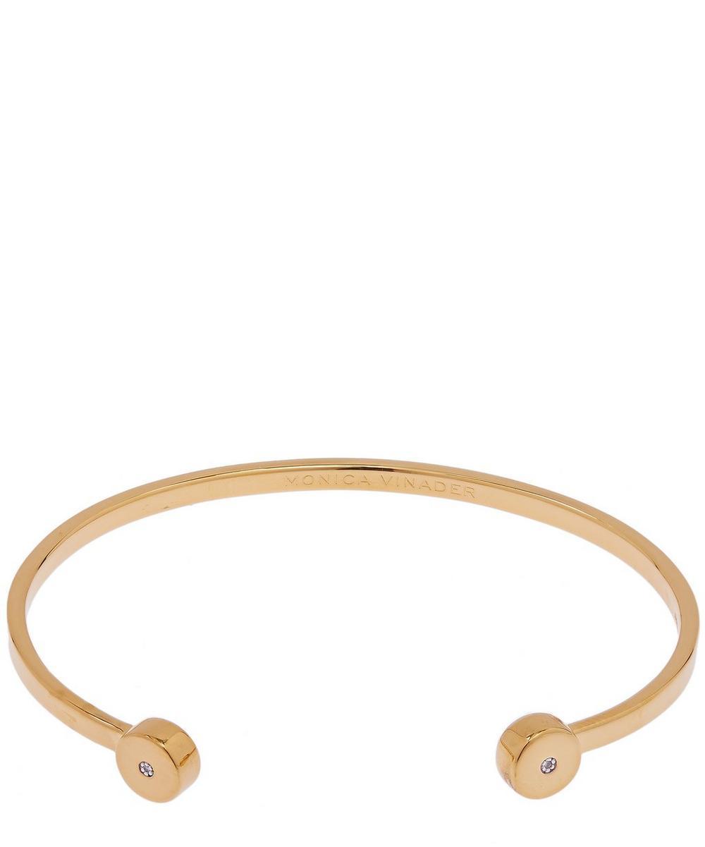 Monica Vinader Accessories GOLD VERMEIL LINEAR SOLO MEDIUM DIAMOND CUFF BRACELET