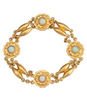 Gold Chinese Antique Opal Flower Bracelet