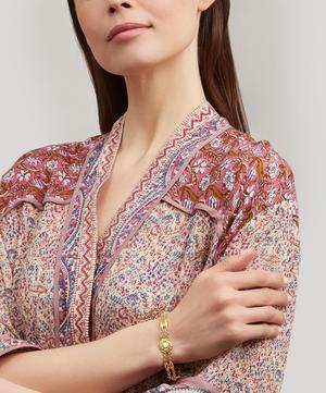 Gold Chinese Antique Opal Flower Bracelet