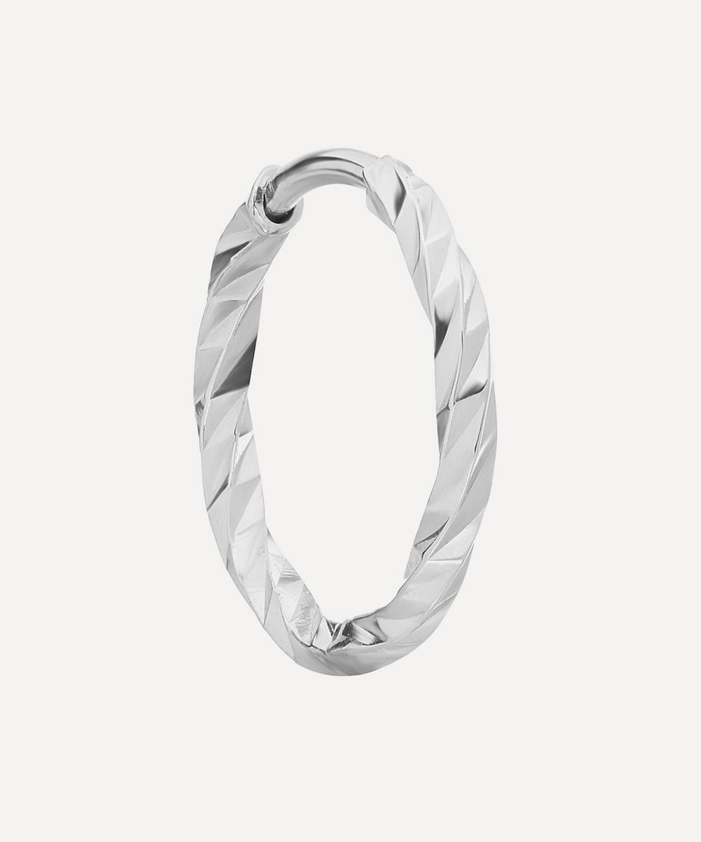 White Gold Diamond Cut Huggie Hoop Earring
