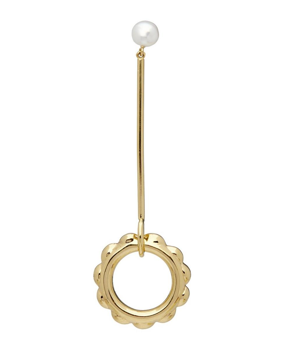 Gold-Plated Flower Duster Pearl Drop Earring