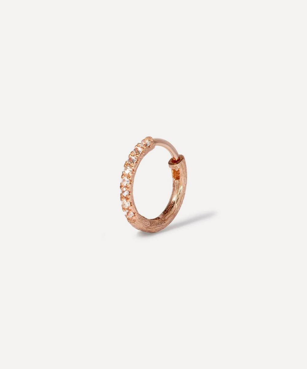 18ct Rose Gold Dusty Diamonds Large Hoop Earring