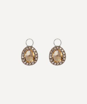 18ct White Gold Dusty Diamonds Mini Citrine Earring Drops