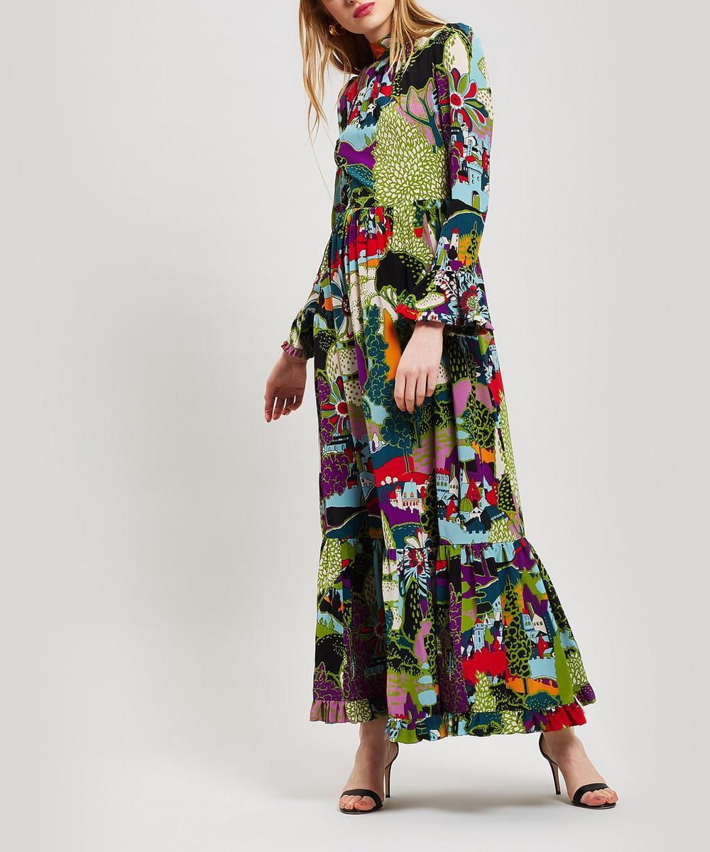 Visconti Long Sleeve Paesaggio Silk Dress