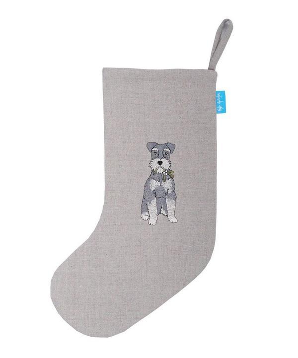 Schnauzer Linen Christmas Stocking
