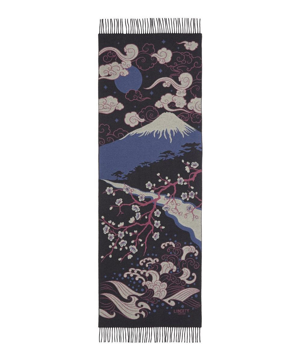 Japanese Landscape 70 x 180cm Wool Jacquard Shawl
