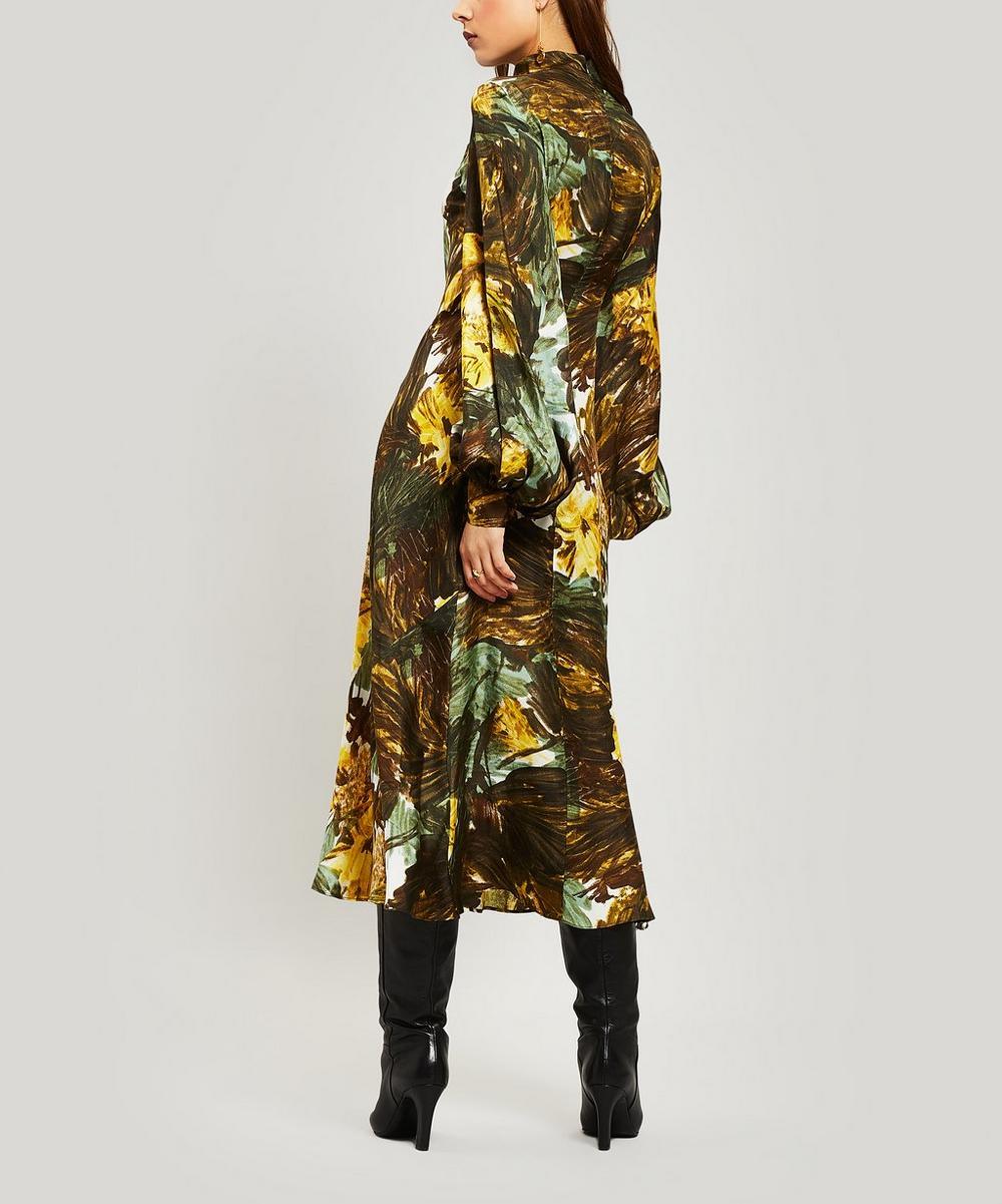 Floral Silk Bell-Sleeve Midi-Dress