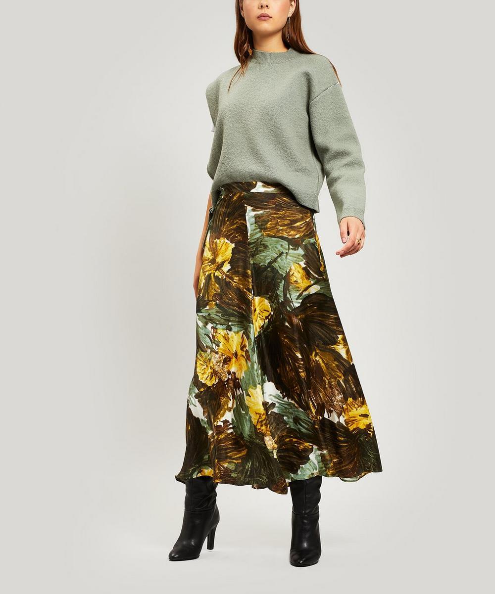 Floral Silk Maxi-Skirt