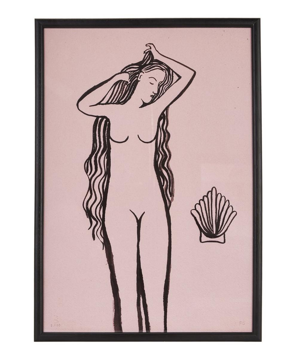 Girl with Shell Framed A3 Print