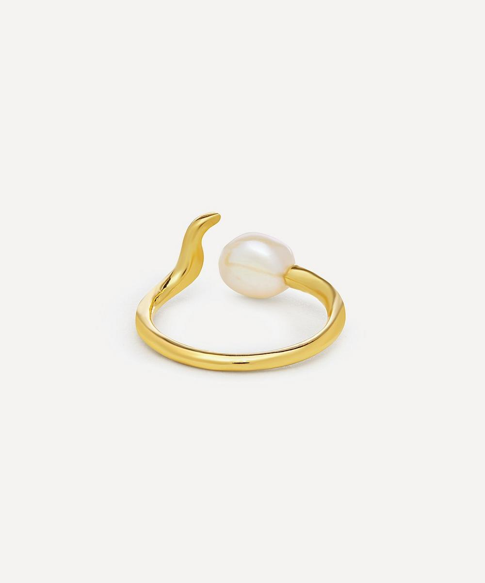 Gold-Plated Moon Shine Baroque Pearl Ring