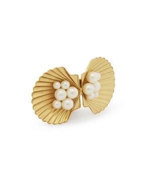 Gold-Tone Botticelli Pearl Shell Barrette Hair Clip