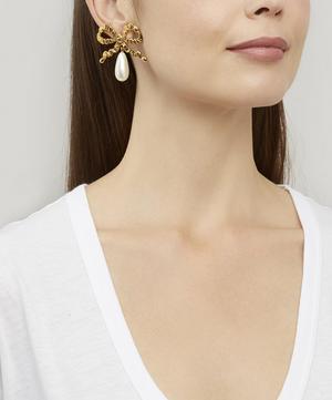 Gold-Tone Katrina Pearl Bow Drop Earrings
