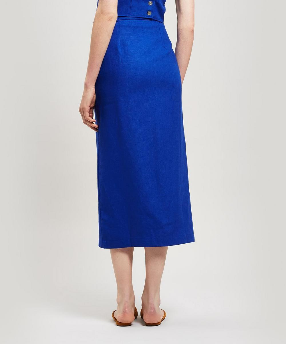 Aquila Linen Midi-Skirt with Bag