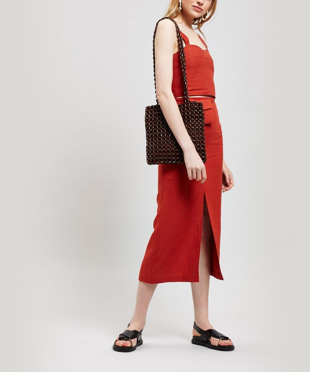 Aquila Linen Midi-Skirt with Bag
